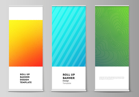 The vector illustration of the editable layout of roll up banner stands, vertical flyers, flags design business templates. Abstract geometric pattern with colorful gradient business background