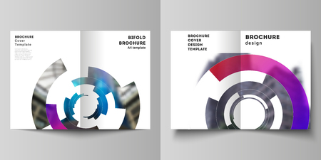 Vector layout of two A4 format modern cover mockups design templates for bifold brochure, flyer, booklet, report. Futuristic design circular pattern, circle elements forming geometric frame for photo 向量圖像