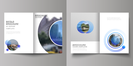 The vector layout of two A4 format modern cover mockups design templates for bifold brochure, magazine, flyer, booklet, annual report. Creative modern blue background with circles and round shapes.
