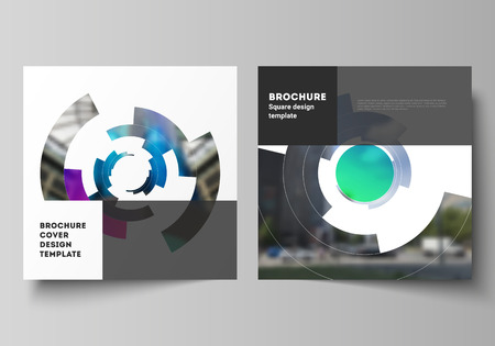 The minimal vector layout of two square format covers design templates for brochure, flyer, magazine. Futuristic design circular pattern, circle elements forming geometric frame for photo.