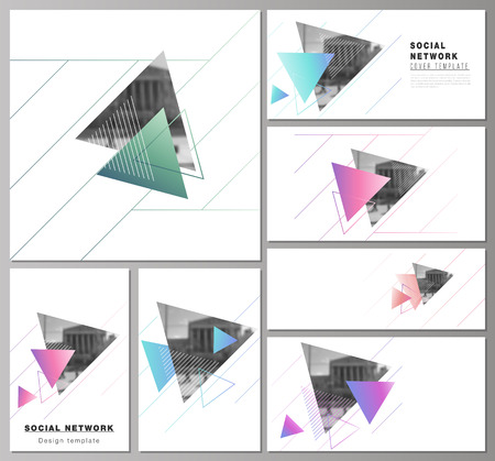 The minimalistic abstract vector illustration of the editable layouts of modern social network mockups in popular formats. Colorful polygonal background with triangles with modern memphis pattern.