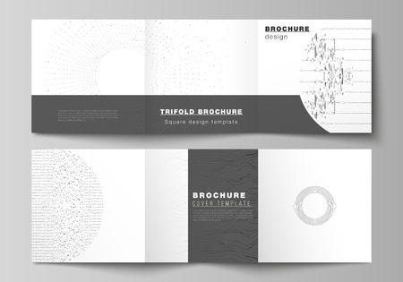 Minimal vector editable layout of square format covers design templates for trifold brochure, flyer, magazine. Trendy modern science or technology background with dynamic particles. Cyberspace grid.