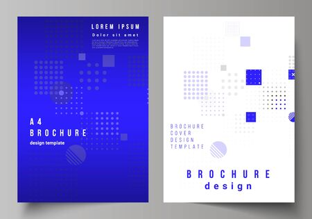 The vector layout of A4 format modern cover mockups design templates for brochure, magazine, flyer, booklet, annual report. Abstract vector background with fluid geometric shapes. Illustration