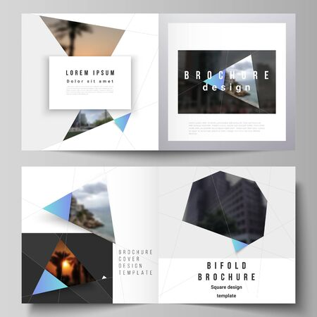 The vector layout of two covers templates for square design bifold brochure, magazine, flyer, booklet. Creative modern background with blue triangles and triangular shapes. Simple design decoration.