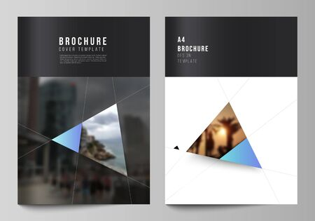The vector layout of A4 format modern cover mockups design templates for brochure, magazine, flyer, booklet, report. Creative modern background with blue triangles and triangular shapes. Simple design