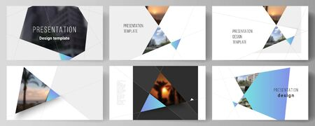 The minimalistic abstract vector layout of the presentation slides design business templates. Creative modern background with blue triangles and triangular shapes. Simple design decoration. Ilustração
