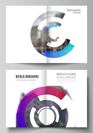 Vector layout of two A4 format modern cover mockups design templates for bifold brochure, flyer, booklet, report. Futuristic design circular pattern, circle elements forming geometric frame for photo.