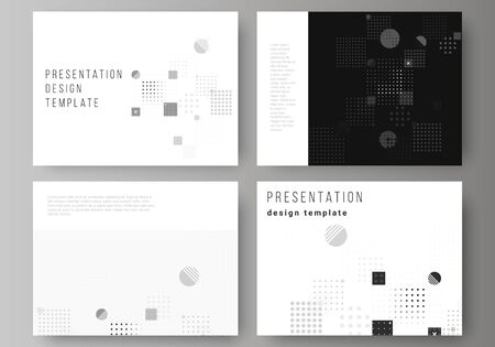 The minimalistic abstract vector illustration of the editable layout of the presentation slides design business templates. Abstract vector background with fluid geometric shapes.