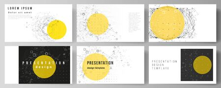 The minimalistic abstract vector illustration layout of the presentation slides design business templates. Science or technology 3d background with dynamic particles. Chemistry and science concept. Illustration