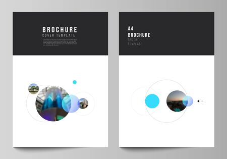 Vector layout of A4 format modern cover mockups design templates for brochure, flyer, booklet. Simple design futuristic concept. Creative background with circles that form planets and stars.