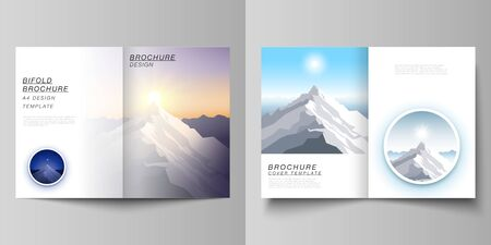 Vector layout of two A4 format modern cover mockups design templates for bifold brochure, magazine, flyer. Mountain illustration, outdoor adventure. Travel concept background. Flat design vector.