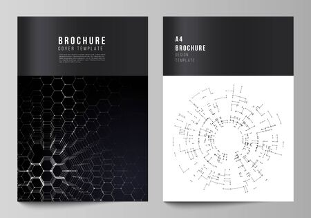 Vector layout of A4 format modern cover mockups design templates for brochure, magazine, flyer, booklet, annual report. Technology, science, future concept abstract futuristic backgrounds.