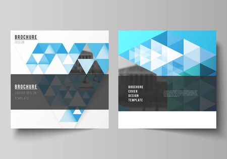 The minimal vector illustration of editable layout of two square format covers design templates for brochure, flyer, magazine. Blue color polygonal background with triangles, colorful mosaic pattern.