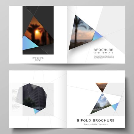 The vector layout of two covers templates for square design bifold brochure, magazine, flyer, booklet. Creative modern background with blue triangles and triangular shapes. Simple design decoration