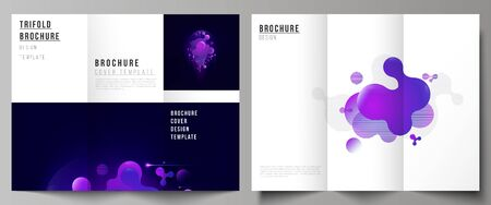 The minimal vector illustration of editable layouts. Modern creative covers design templates for trifold brochure or flyer. Black background with fluid gradient, liquid blue colored geometric element