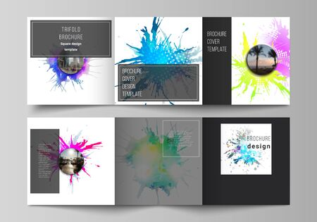 The minimal vector editable layout of square format covers design templates for trifold brochure, flyer, magazine. Colorful watercolor paint stains vector backgrounds Ilustração