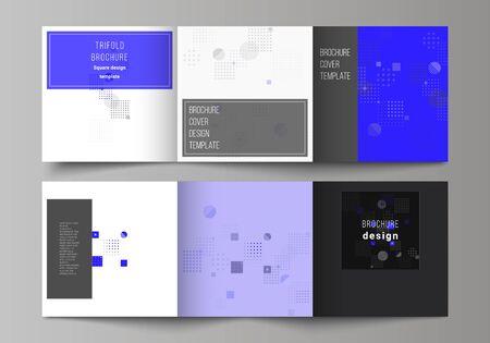 L'illustrazione vettoriale minima di colore nero del layout modificabile. Modelli di design di copertine creative moderne per brochure o volantini quadrati a tre ante. Sfondo vettoriale astratto con forme geometriche fluide