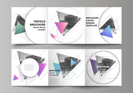 The minimal vector editable layout of square format covers design templates for trifold brochure, flyer, magazine. Colorful polygonal background with triangles, modern memphis pattern