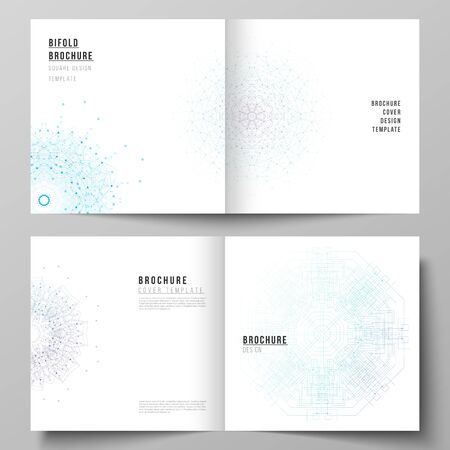 The vector editable layout of two covers templates for square design bifold brochure, magazine, flyer, booklet. Big Data Visualization, geometric communication background with connected lines and dots