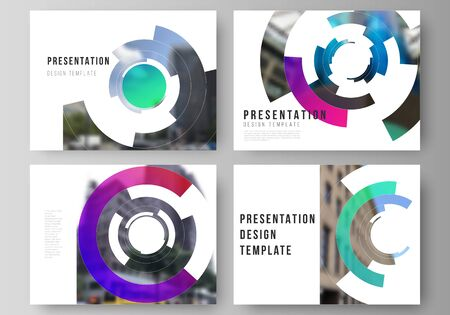 Minimalist abstract vector illustration of editable layout of the presentation slides design business templates. Futuristic design circular pattern, circle elements forming geometric frame for photo.