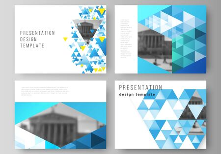 The minimalistic abstract vector illustration of the editable layout of the presentation slides design business templates. Blue color polygonal background with triangles, colorful mosaic pattern.