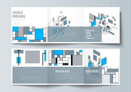 The minimal vector editable layout of square format covers design templates for trifold brochure, flyer, magazine. Abstract polygonal background, colorful mosaic pattern, retro bauhaus de stijl design