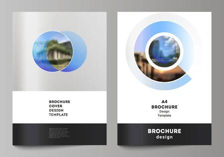 The vector layout of A4 format modern cover mockups design templates for brochure, magazine, flyer, booklet, annual report. Creative modern blue background with circles and round shapes.