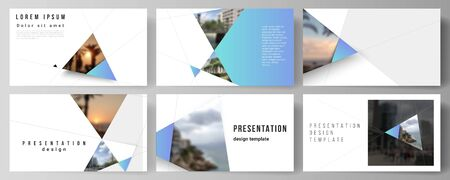 The minimalistic abstract vector layout of the presentation slides design business templates. Creative modern background with blue triangles and triangular shapes. Simple design decoration