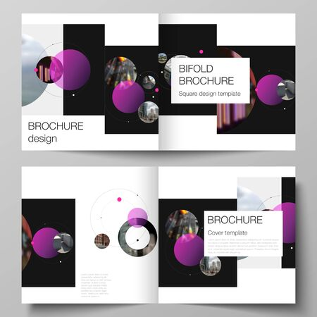 Vector layout of two covers templates for square design bifold brochure, magazine, flyer. Simple design futuristic concept.Creative background with circles and round shapes that form planets and stars. 写真素材 - 128616677