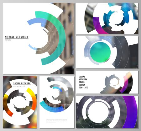 Minimalistic abstract vector illustration of editable layouts of modern social network mockups in popular formats. Futuristic design circular pattern, circle elements forming geometric frame for photo