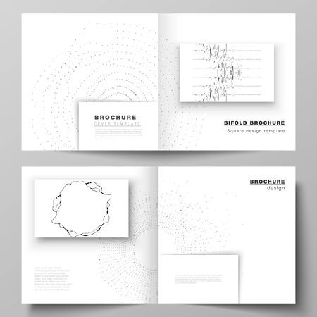 The vector layout of two covers templates for square design bifold brochure, magazine, flyer, booklet. Trendy modern science or technology background with dynamic particles. Cyberspace grid.