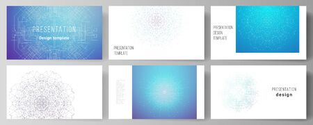 The minimalistic abstract vector illustration layout of the presentation slides design business templates. Big Data Visualization, geometric communication background with connected lines and dots
