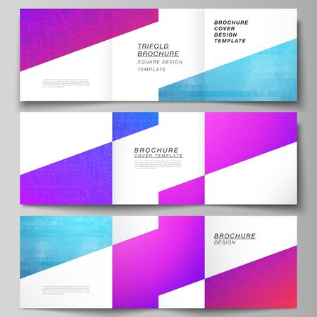 The minimal vector editable layout of square format covers design templates for trifold brochure, flyer, magazine. Abstract geometric pattern with colorful gradient business background.  イラスト・ベクター素材