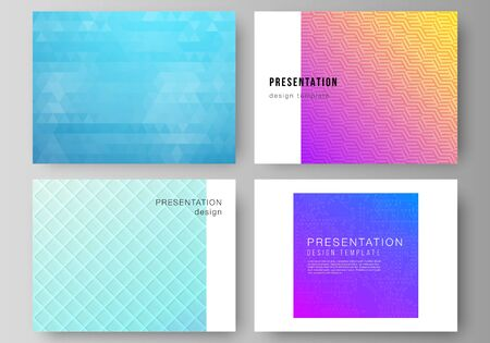 The minimalistic abstract vector illustration of the editable layout of the presentation slides design business templates. Abstract geometric pattern with colorful gradient business background.  イラスト・ベクター素材