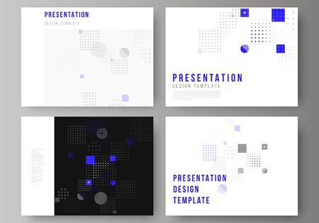 The minimalistic abstract vector illustration of the editable layout of the presentation slides design business templates. Abstract vector background with fluid geometric shapes  イラスト・ベクター素材