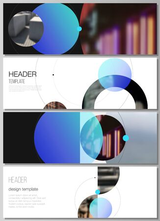 The minimalistic vector layout of headers, banner design templates. Simple design futuristic concept. Creative background with circles and round shapes that form planets and stars. Illustration