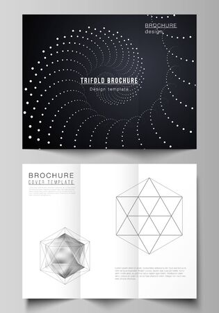 Vector illustration layouts. Modern creative covers design templates for trifold brochure or flyer. 3d polygonal geometric modern design abstract background. Science or technology vector illustration.  イラスト・ベクター素材