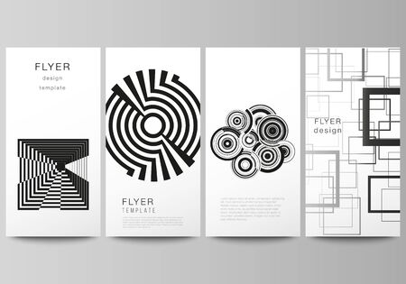 The minimalistic vector illustration of the editable layout of flyer, banner design templates. Trendy geometric abstract background in minimalistic flat style with dynamic composition