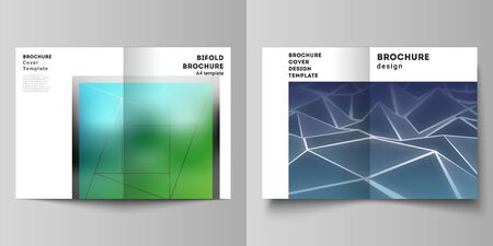 Vector layout of two A4 format modern cover mockups design templates for bifold brochure, flyer, booklet. 3d polygonal geometric modern design abstract background. Science or technology vector.