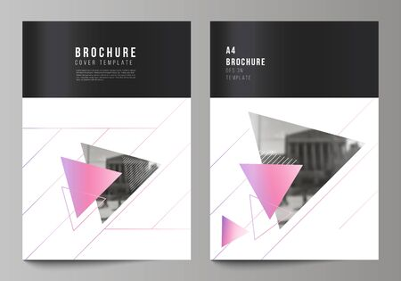 The vector layout of A4 format modern cover mockups design templates for brochure, magazine, flyer, booklet, annual report. Colorful polygonal background with triangles with modern memphis pattern.