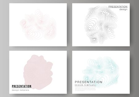 The minimalistic abstract vector illustration of the editable layout of the presentation slides design business templates. Topographic contour map, abstract monochrome background  イラスト・ベクター素材