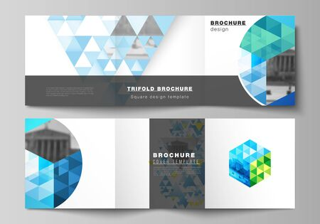The minimal vector editable layout of square format covers design templates for trifold brochure, flyer, magazine. Blue color polygonal background with triangles, colorful mosaic pattern.