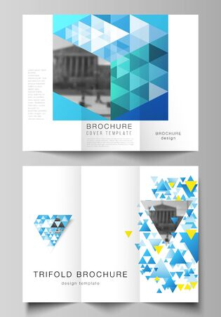 The minimal vector illustration of editable layouts. Modern creative covers design templates for trifold brochure or flyer. Blue color polygonal background with triangles, colorful mosaic pattern.