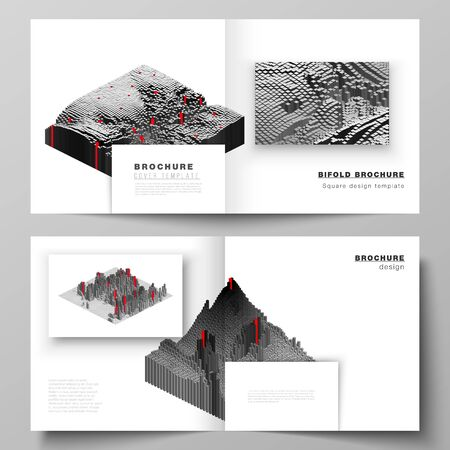 Vector layout of two covers templates for square design bifold brochure, magazine, flyer, booklet. Big data. Dynamic geometric background. Cubes pattern design with motion effect. 3d technology style.