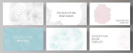 The minimalistic abstract vector illustration of the editable layout of the presentation slides design business templates. Topographic contour map, abstract monochrome background. Иллюстрация