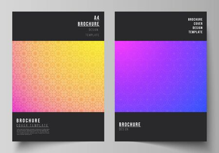 The vector layout of A4 format modern cover mockups design templates for brochure, magazine, flyer, booklet, annual report. Abstract geometric pattern with colorful gradient business background. Illustration