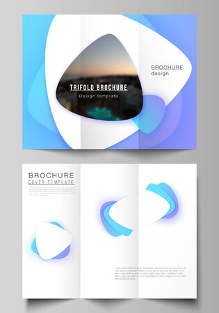 Minimal vector illustration of editable layouts. Modern creative covers design templates for trifold brochure or flyer. Blue color gradient abstract dynamic shapes, colorful geometric template design. Illustration