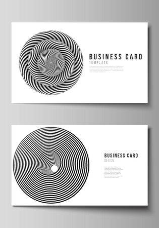 The minimalistic abstract vector illustration layout of two creative business cards design templates. Abstract 3D geometrical background with optical illusion black and white design pattern.