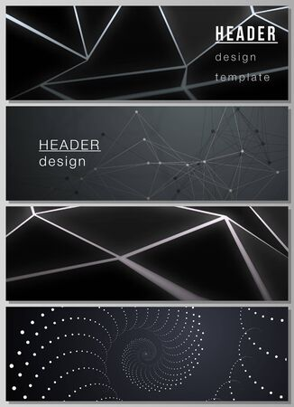 The minimalistic vector illustration of the editable layout of headers, banner design templates. 3d polygonal geometric modern design abstract background. Science or technology vector illustration 일러스트