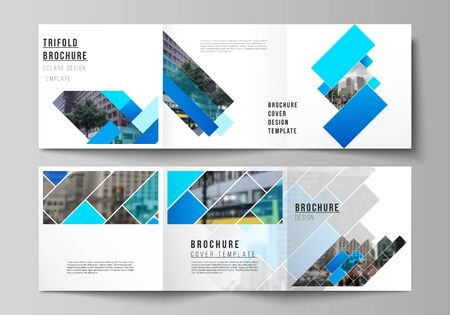 Minimalny edytowalny układ wektorowy w formacie kwadratowym obejmuje szablony projektowe dla broszury trójdzielnej, ulotki, czasopisma. Abstrakcyjny wzór geometryczny kreatywnych nowoczesne niebieskie tło z prostokątami.